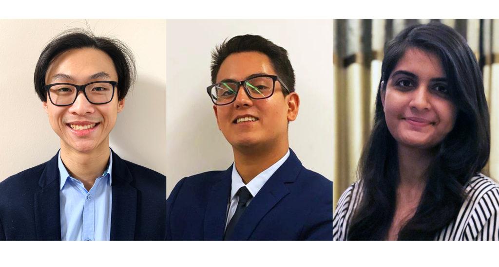 Picture of interns at Tekt Industries: Brendan Leung, Ernesto Calderon and Simran Bhutani