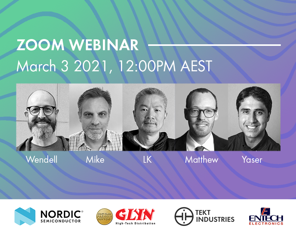 A picture of the webinar speakers' faces. Webinar speakers include, from left to right: Wendell Boyd, Mike Benson, LK. Wong, Matthew Adams and Yaser Darban.